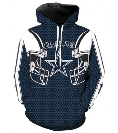 LN2177 3D Digital Printed NFL Dallas Cowboys Football Team Sport Hoodie Unisex Fit Style Hoodie With Hat