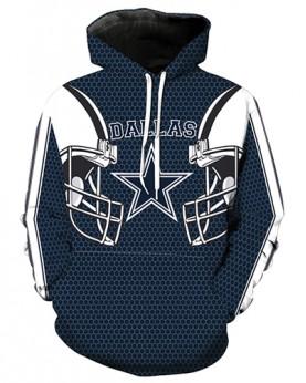 LN2177 3D Digital Printed NFL Dallas Cowboys Football Team Sport Hoodie Unisex Fit Style Hoodie With Hat