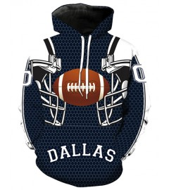 LN2178 3D Digital Printed NFL Dallas Cowboys Football Team Sport Hoodie Unisex Fit Style Hoodie With Hat