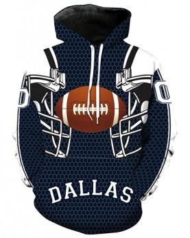 LN2178 3D Digital Printed NFL Dallas Cowboys Football Team Sport Hoodie Unisex Fit Style Hoodie With Hat