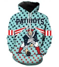 LN2180 3D Digital Printed NFL New England Patriots Football Team Sport Hoodie Unisex Fit Style Hoodie With Hat