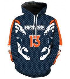 LN2181 3D Digital Printed NFL Denver Broncos Football Team Sport Hoodie Unisex Fit Style Hoodie With Hat