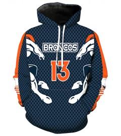 LN2181 3D Digital Printed NFL Denver Broncos Football Team Sport Hoodie Unisex Fit Style Hoodie With Hat