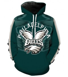 LN2182 3D Digital Printed NFL Philadelphia Eagles Football Team Sport Hoodie Unisex Fit Style Hoodie With Hat