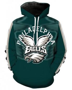 LN2182 3D Digital Printed NFL Philadelphia Eagles Football Team Sport Hoodie Unisex Fit Style Hoodie With Hat