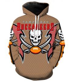 LN2183 3D Digital Printed NFL Tampa Bay Buccaneers Football Team Sport Hoodie Unisex Fit Style Hoodie With Hat