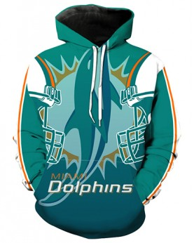 LN2184 3D Digital Printed NFL Miami Dolphins Football Team Sport Hoodie Unisex Fit Style Hoodie With Hat