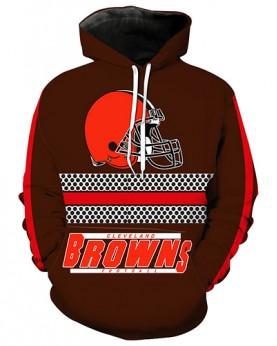LN2185 3D Digital Printed NFL Cleveland Browns Football Team Sport Hoodie Unisex Fit Style Hoodie With Hat