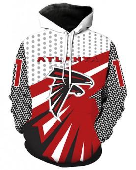 LN2187 3D Digital Printed NFL Atlanta Falcons Football Team Sport Hoodie Unisex Fit Style Hoodie With Hat