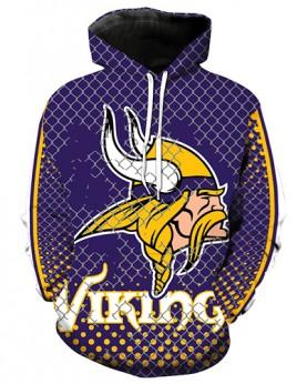 LN2687 3D Digital Printed NFL Minnesota Vikings Football Team Sport Hoodie Unisex Fit Style Hoodie With Hat