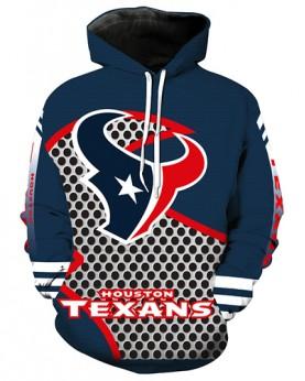 LN2696 3D Digital Printed NFL Houston Texans Football Team Sport Hoodie Unisex Fit Style Hoodie With Hat