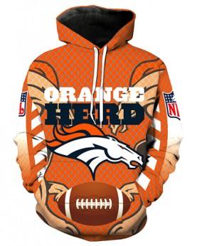LN2702 3D Digital Printed NFL Denver Broncos Football Team Sport Hoodie Unisex Fit Style Hoodie With Hat