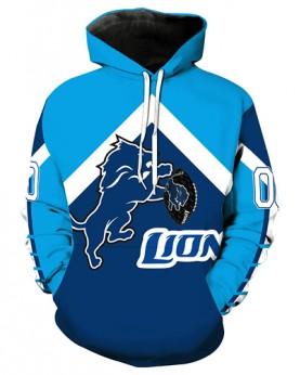 LN2710 3D Digital Printed NFL Detroit Lions Football Team Sport Hoodie Unisex Fit Style Hoodie With Hat