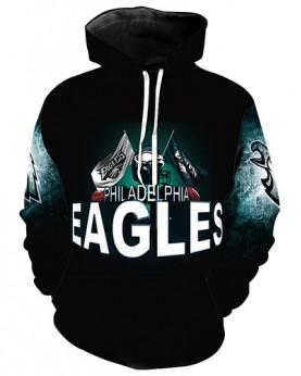 LN2713 3D Digital Printed NFL Philadelphia Eagles Football Team Sport Hoodie Unisex Fit Style Hoodie With Hat