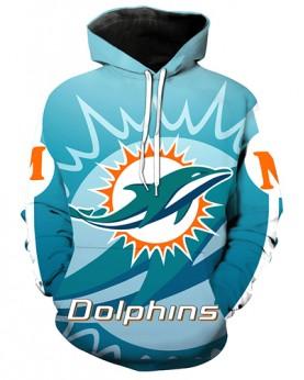 LN2722 3D Digital Printed NFL Miami Dolphins Football Team Sport Hoodie Unisex Fit Style Hoodie With Hat