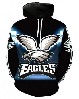 LN2734 3D Digital Printed NFL Philadelphia Eagles Football Team Sport Hoodie Unisex Fit Style Hoodie With Hat
