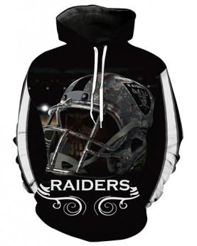 LN3623 3D Digital Printed NFL Oakland Raiders Football Team Sport Hoodie Unisex Fit Style Hoodie With Hat