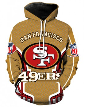 LN3630 3D Digital Printed NFL San Francisco 49ers Football Team Sport Hoodie Unisex Fit Style Hoodie With Hat