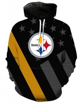 LN3679 3D Digital Printed NFL Pittsburgh Steelers Football Team Sport Hoodie Unisex Fit Style Hoodie With Hat