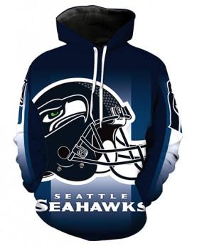 LN3681 3D Digital Printed NFL Seattle Seahawks Football Team Sport Hoodie Unisex Fit Style Hoodie With Hat