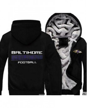 LYBBR USA Rugby NFL Baltimore Ravens Football Zipper With Hat Hoodies Team Sports Jacket