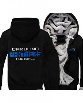 LYBCP USA Rugby NFL Carolina Panthers Football Zipper With Hat Hoodies Team Sports Jacket