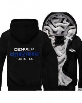 LYBDB USA Rugby NFL Denver Broncos Football Zipper With Hat Hoodies Team Sports Jacket