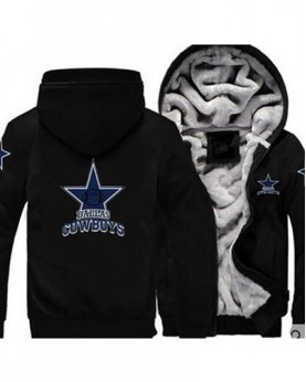LYBDC3 USA Rugby NFL Dallas Cowboys Football Zipper With Hat Hoodies Team Sports Jacket