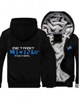LYBDL USA Rugby NFL Detroit Lions Football Zipper With Hat Hoodies Team Sports Jacket