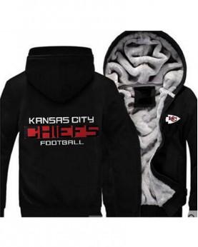 LYBKCC USA Rugby NFL kansas City Chiefs Football Zipper With Hat Hoodies Team Sports Jacket