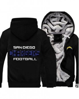 LYBLAC USA Rugby NFL Los Angeles Chargers Football Zipper With Hat Hoodies Team Sports Jacket