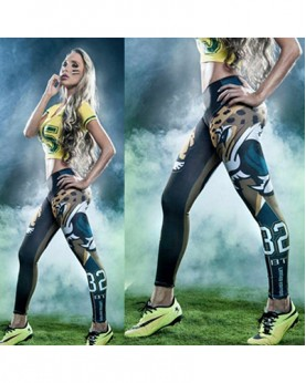 YDC048 High Waist Normal Quality NFL Jacksonville Jaguars Football Team Sports Leggings