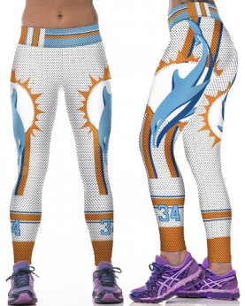 YDC078 High Waist Normal Quality NFL Miami Dolphins Football Team Sports Leggings
