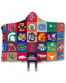 CO-AAC3 Standard USA Size American University College Team Hooded Blanket Wearable Throw Blankets For Adults And Kids