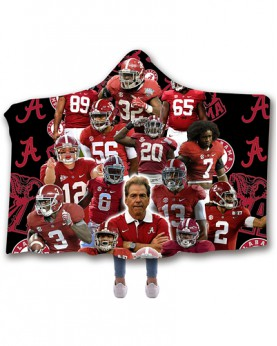 CO-ACT1 Standard USA Size Alabama Crimson Tide College Team Hooded Blanket Wearable Throw Blankets For Adults And Kids