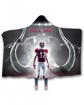 CO-ACT2 Standard USA Size Alabama Crimson Tide College Team Hooded Blanket Wearable Throw Blankets For Adults And Kids