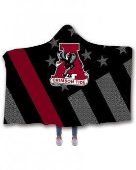 CO-ACT3 Standard USA Size Alabama Crimson Tide College Team Hooded Blanket Wearable Throw Blankets For Adults And Kids