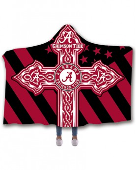 CO-ACT4 Standard USA Size Alabama Crimson Tide College Team Hooded Blanket Wearable Throw Blankets For Adults And Kids