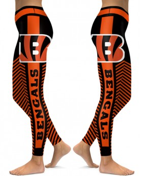 DBAQ555 High Waist NFL Cincinnati Bengals Football Team 4Needle 6Thread Stitcking Sports Leggings