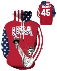 DQYDM439 3D Digital Printed USA Trump Sport Hoodie Unisex Hoodie With Hat