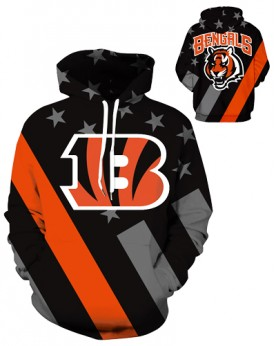 DQYDM444 3D Digital Printed NFL Cincinnati Bengals Football Team Sport Hoodie Unisex Hoodie With Hat