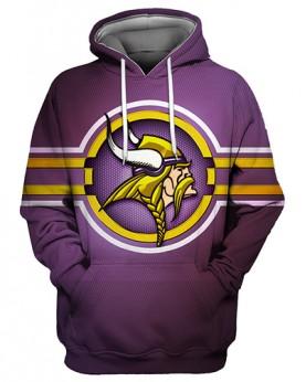 FGS0240 3D Digital Printed NFL Minnesota Vikings Football Team Sport Hoodie Unisex Fit Style Hoodie With Hat