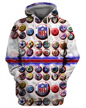 FGS0246 3D Digital Printed NFL All Teams Logo Football Team Sport Hoodie Unisex Fit Style Hoodie With Hat