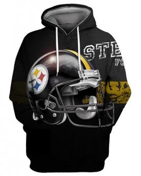 FGS0249 3D Digital Printed NFL Pittsburgh Steelers Football Team Sport Hoodie Unisex Fit Style Hoodie With Hat