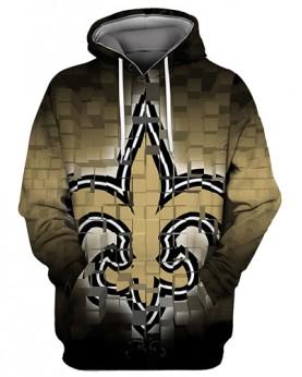 FGS0254 3D Digital Printed NFL New Orleans Saints Football Team Sport Hoodie Unisex Fit Style Hoodie With Hat