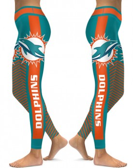 DBAQ558 High Waist NFL Miami Dolphins Football Team 4Needle 6Thread Stitcking Sports Leggings