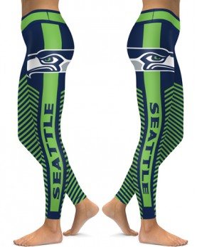 DBAQ562 High Waist NFL Seattle Seahawks Football Team 4Needle 6Thread Stitcking Sports Leggings