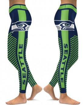 DBAQ562 High Waist NFL Seattle Seahawks Football Team 4Needle 6Thread Stitcking Sports Leggings