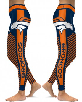 DBAQ563 High Waist NFL Denver Broncos Football Team 4Needle 6Thread Stitcking Sports Leggings