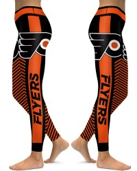 DBAQ565 High Waist NHL Philadelphia Flyers Hockey Team 4Needle 6Thread Stitcking Sports Leggings